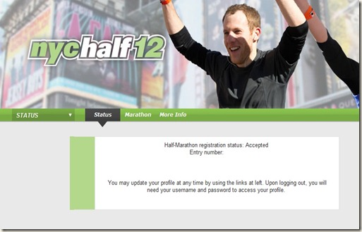 nyc half marathon screen acceptance